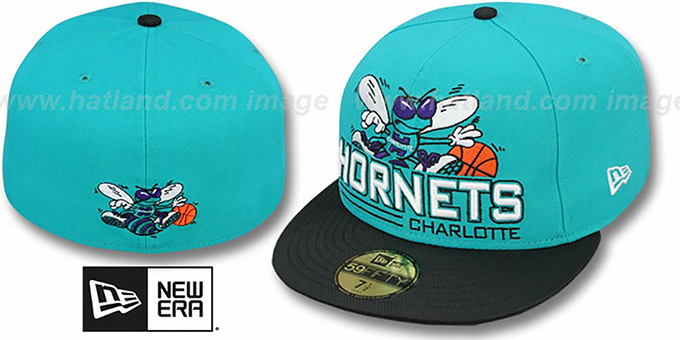 Hornets 'TECH MARK' Teal-Black Fitted Hat by New Era : pictured without stickers that these products are shipped with