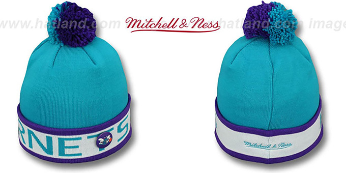 Hornets 'THE-BUTTON' Knit Beanie Hat by Michell & Ness : pictured without stickers that these products are shipped with