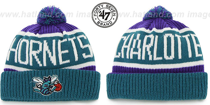 Hornets 'THE-CALGARY' Teal-Purple Knit Beanie Hat by Twins 47 Brand : pictured without stickers that these products are shipped with