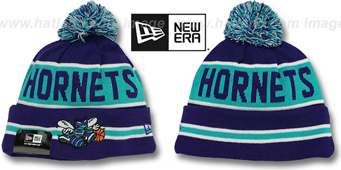 Hornets 'THE-COACH' Purple Knit Beanie Hat by New Era : pictured without stickers that these products are shipped with