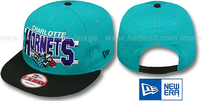 Hornets 'WORDSTRIPE SNAPBACK' Teal-Black Hat by New Era : pictured without stickers that these products are shipped with
