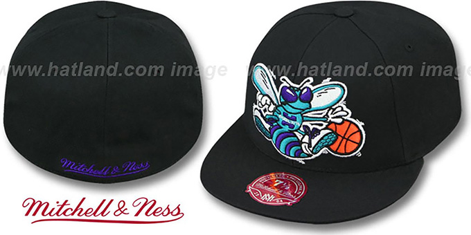 Hornets 'XL-LOGO BASIC' Black Fitted Hat by Mitchell & Ness : pictured without stickers that these products are shipped with