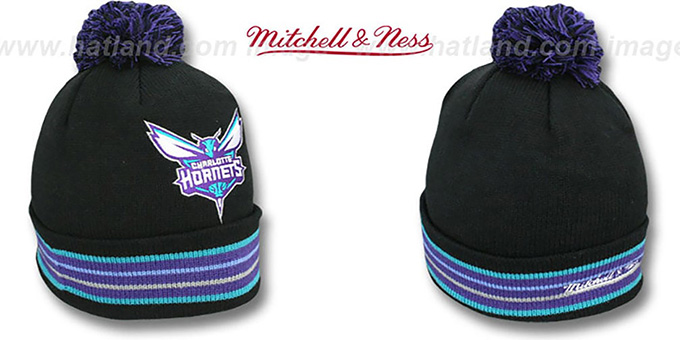 Hornets 'XL-LOGO BEANIE' Black by Mitchell and Ness : pictured without stickers that these products are shipped with