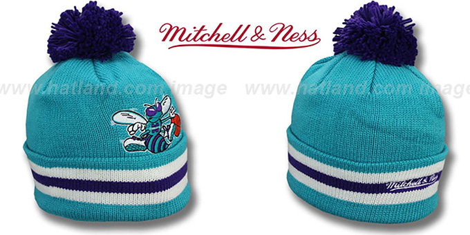 Hornets 'XL-LOGO BEANIE' Teal by Mitchell and Ness : pictured without stickers that these products are shipped with