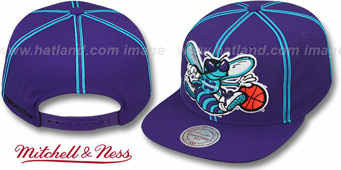 Hornets 'XL-LOGO SOUTACHE SNAPBACK' Purple Adjustable Hat by Mitchell & Ness : pictured without stickers that these products are shipped with