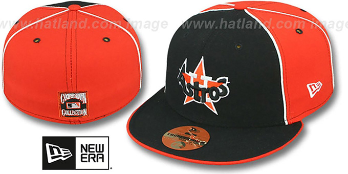 8ca245e267f Houston Astros COOP  DECEPTOR-2 PINWHEEL  Navy-Orange Fitted Hat