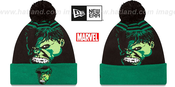 Hulk 'LOGO WHIZ' Black-Green Knit Beanie Hat by New Era : pictured without stickers that these products are shipped with