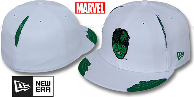 Hulk 'RIPPED' White Fitted Hat by New Era : pictured without stickers that these products are shipped with