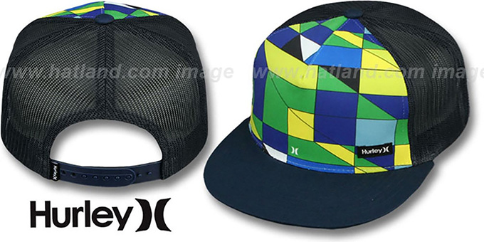 Hurley 'BOARDSHORT SNAPBACK' Navy Trucker Hat : pictured without stickers that these products are shipped with