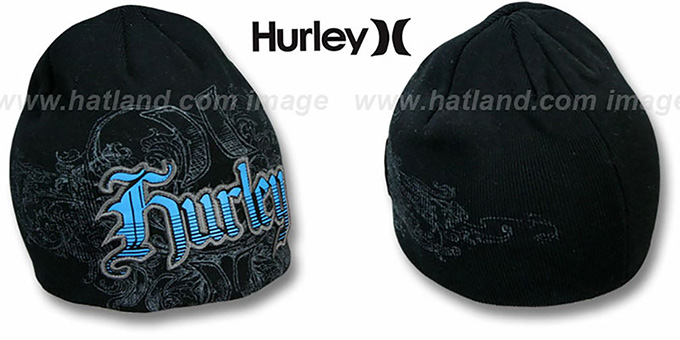 Hurley 'CHUCK' Black Knit Beanie Hat : pictured without stickers that these products are shipped with