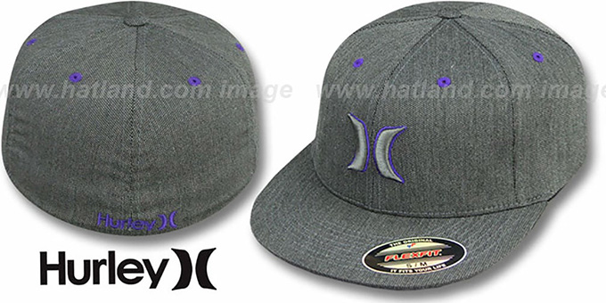 Hurley 'COLOR BAR' FLEXFIT Grey-Purple Hat : pictured without stickers that these products are shipped with