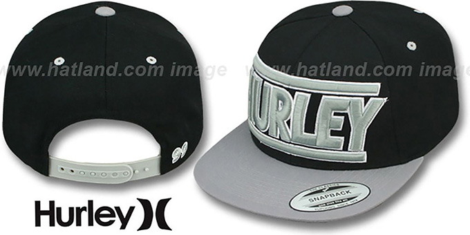 Hurley 'GAME TIME SNAPBACK' Black-Grey Hat : pictured without stickers that these products are shipped with