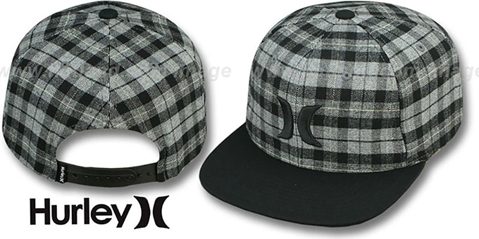 Hurley 'ICON PLAID SNAPBACK' Black Hat : pictured without stickers that these products are shipped with