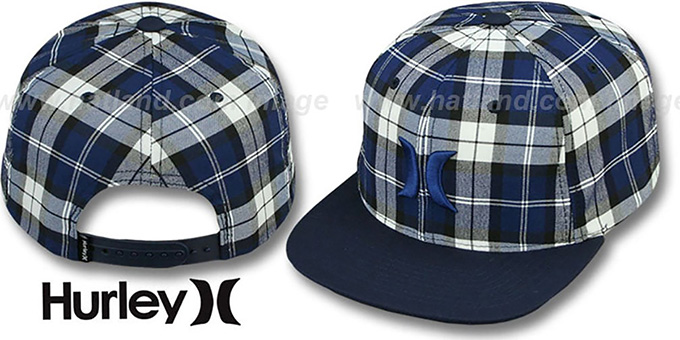 Hurley 'ICON PLAID SNAPBACK' Navy Hat : pictured without stickers that these products are shipped with