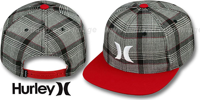 Hurley 'ICON PLAID SNAPBACK' Red Hat : pictured without stickers that these products are shipped with