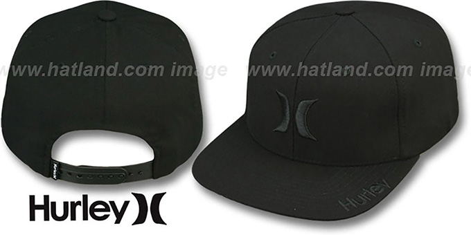 Hurley 'ICON SNAPPER SNAPBACK' Black Hat : pictured without stickers that these products are shipped with