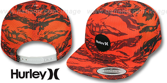 Hurley 'KRUSH MESHER SNAPBACK' Orange Trucker Hat : pictured without stickers that these products are shipped with