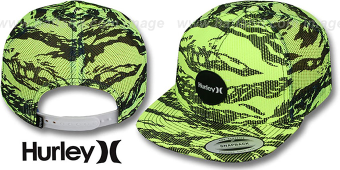 Hurley 'KRUSH MESHER SNAPBACK' Yellow Trucker Hat : pictured without stickers that these products are shipped with