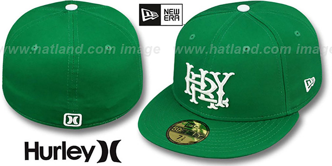 Hurley 'MAJOR LEAGUES' Green Fitted Hat by New Era : pictured without stickers that these products are shipped with
