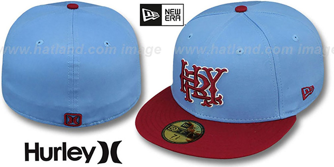 Hurley 'MAJOR LEAGUES' Sky-Burgundy Fitted Hat by New Era : pictured without stickers that these products are shipped with