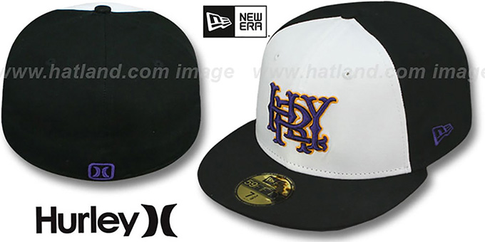 Hurley 'MAJOR LEAGUES' White-Black Fitted Hat by New Era : pictured without stickers that these products are shipped with