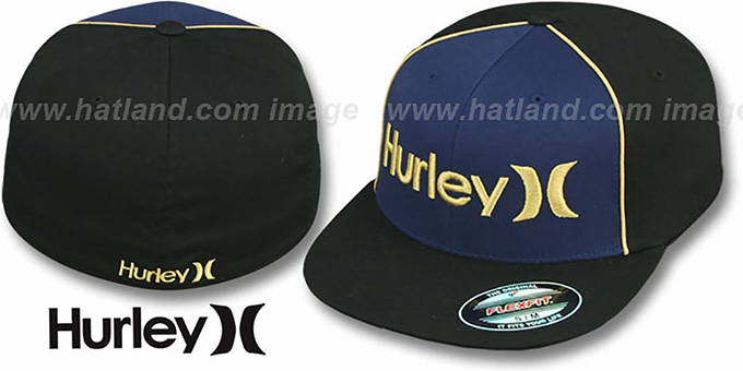 Hurley 'ONLY CORP' FLEXFIT Navy-Black Hat : pictured without stickers that these products are shipped with
