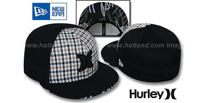 Hurley 'ROYALTY' Black Fitted Hat by New Era : pictured without stickers that these products are shipped with