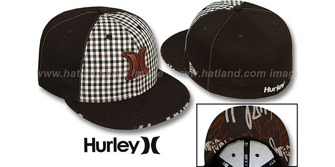 Hurley 'ROYALTY' Brown Fitted Hat by New Era : pictured without stickers that these products are shipped with
