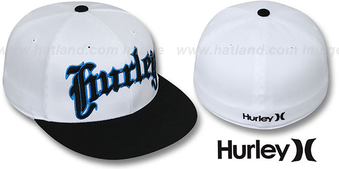 Hurley 'TWO TONE FLEX' White-Black Hat : pictured without stickers that these products are shipped with