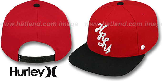 Hurley 'VERT SNAPBACK' Red-Black Hat : pictured without stickers that these products are shipped with
