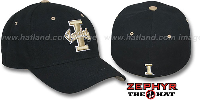 Idaho 'DH' Black Fitted Hat by Zephyr : pictured without stickers that these products are shipped with