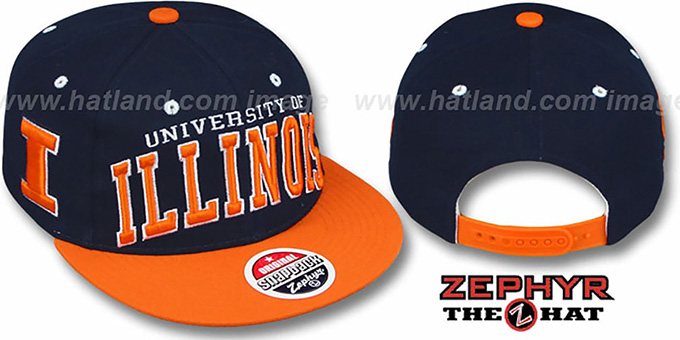 Illinois '2T SUPER-ARCH SNAPBACK' Navy-Orange Hat by Zephyr : pictured without stickers that these products are shipped with