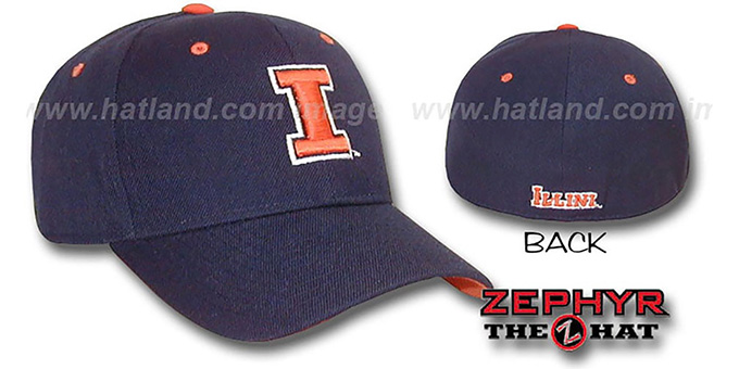 Illinois 'DH' Fitted Hat by ZEPHYR - navy : pictured without stickers that these products are shipped with