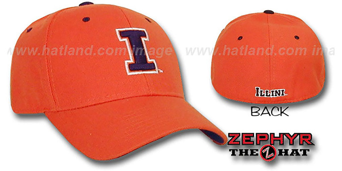 Illinois 'DH' Fitted Hat by ZEPHYR - orange : pictured without stickers that these products are shipped with