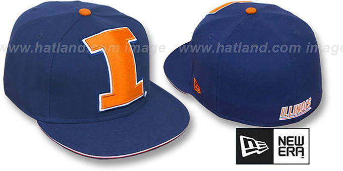Illinois 'NCAA BIG-ONE' Navy Fitted Hat by New Era : pictured without stickers that these products are shipped with