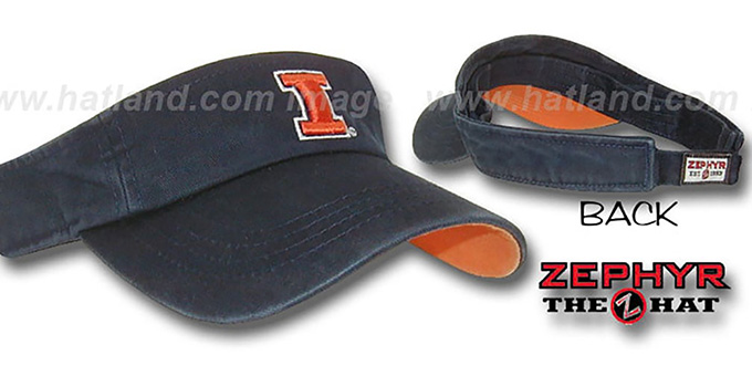 Illinois 'SLIDE' Visor by Zephyr - navy : pictured without stickers that these products are shipped with