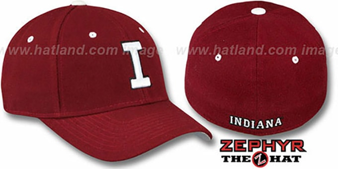 Indiana 'DH' Fitted Hat by Zephyr - burgundy : pictured without stickers that these products are shipped with