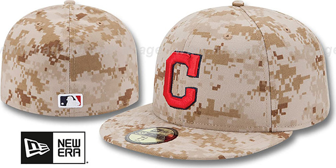Indians 2013 'STARS N STRIPES' Desert Camo Hat by New Era : pictured without stickers that these products are shipped with