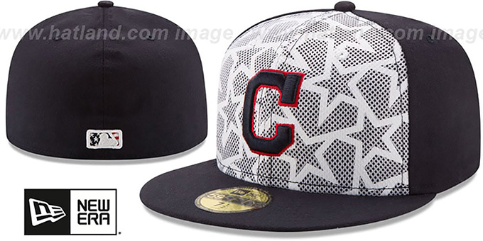 Indians '2016 JULY 4TH STARS N STRIPES' Fitted Hat by New Era : pictured without stickers that these products are shipped with