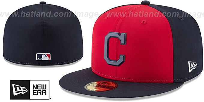 Indians '2018 PROLIGHT-BP' Red-Navy Fitted Hat by New Era : pictured without stickers that these products are shipped with