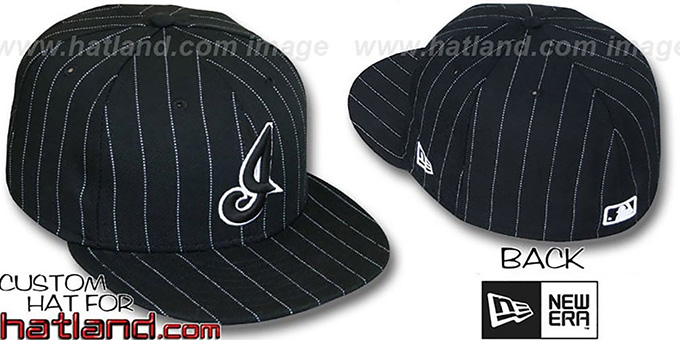Indians ALT 'PINSTRIPE' Black-White Fitted Hat by New Era : pictured without stickers that these products are shipped with