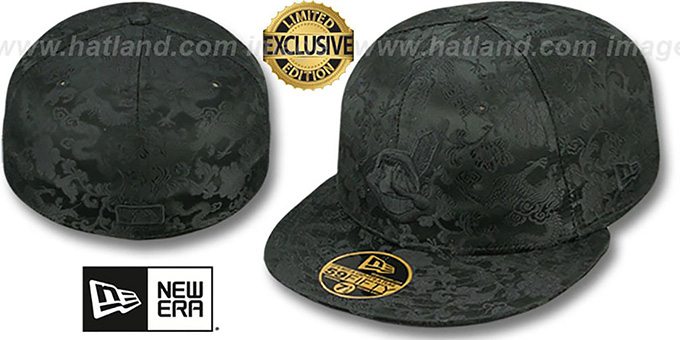 Indians 'BLACKOUT SILK-DRAGONS' Fitted Hat by New Era : pictured without stickers that these products are shipped with
