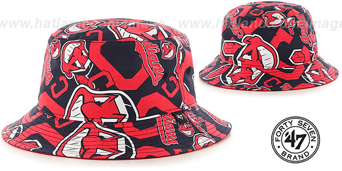 Indians 'BRAVADO BUCKET' Hat by Twins 47 Brand : pictured without stickers that these products are shipped with