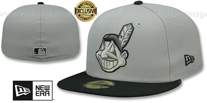 Indians 'CHIEF-WAHOO' Light Grey-Black Fitted Hat by New Era