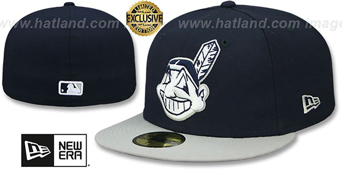 7016276392a ... get indians chief wahoo navy light grey fitted hat by b0921 b1ad5