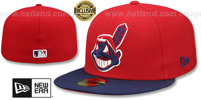 0d0148e3a9a58 Cleveland Indians CHIEF-WAHOO Red-Navy Fitted Hat by New Era