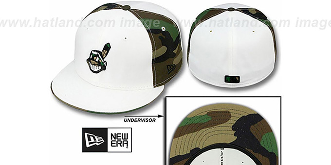 Indians 'COLOR BLOCK' White-Army Camo Fitted Hat by New Era : pictured without stickers that these products are shipped with