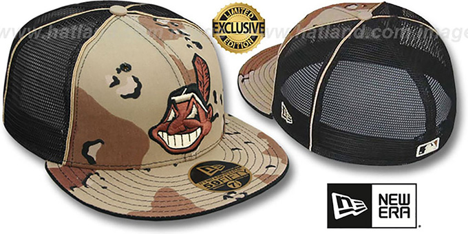 Indians 'DESERT STORM MESH-BACK' Fitted Hat by New Era : pictured without stickers that these products are shipped with