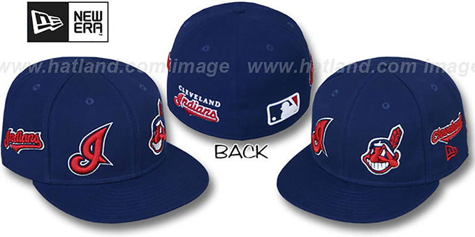 Indians 'EVOLUTION' Fitted Hat by New Era - navy : pictured without stickers that these products are shipped with