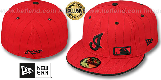 Indians 'FABULOUS' Red-Black Fitted Hat by New Era : pictured without stickers that these products are shipped with